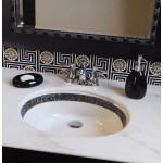 Faux Black Marble Border Sink with Gold Trim