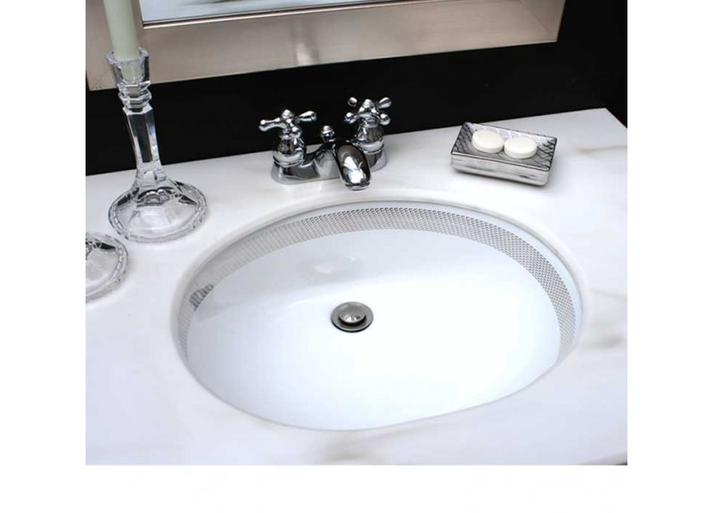 Platinum Geometric Border Painted Sink in Black & Silver Bathroom