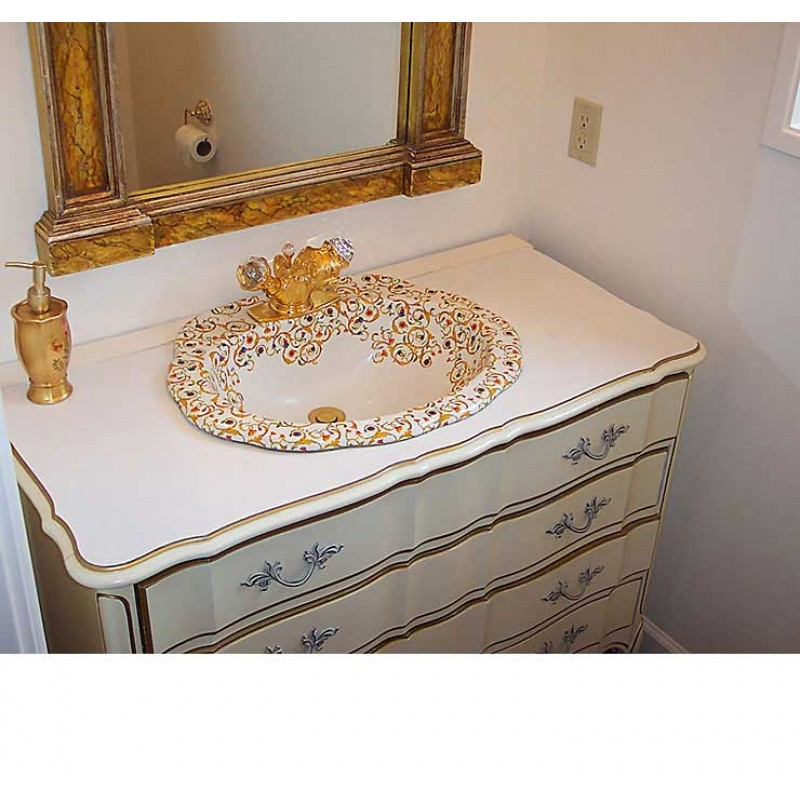 Hand Painted Boat Oval Vessel Bathroom Sink