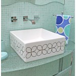 Cloverleaf Square Painted Vessel Sink