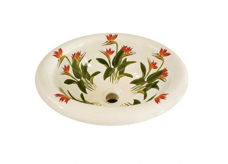 bird of paradise flowers painted vitreous china bathroom sink