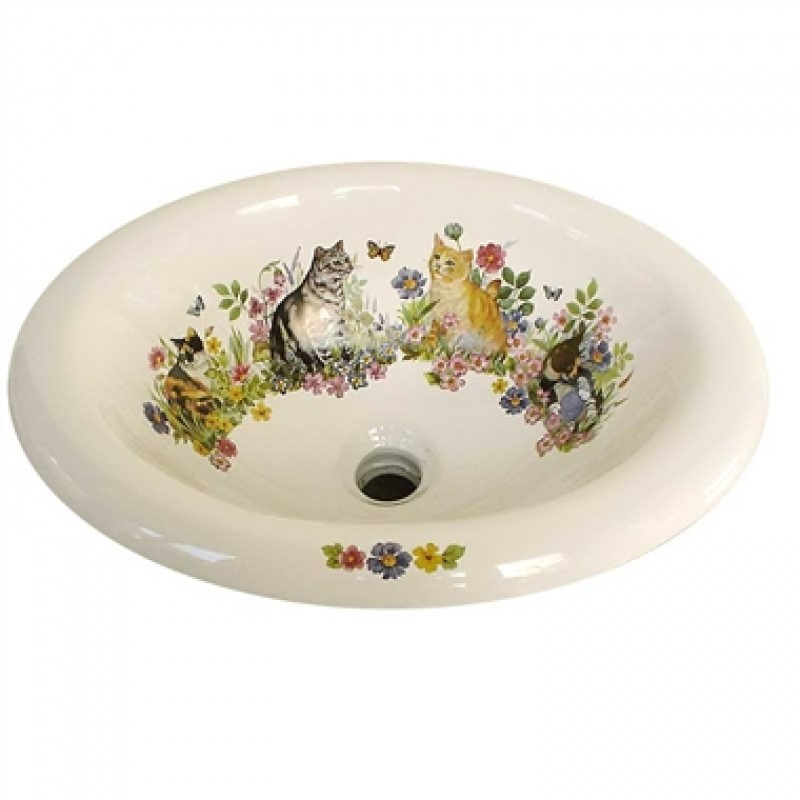 drop-in bathroom sink painted with cats and butterflies design