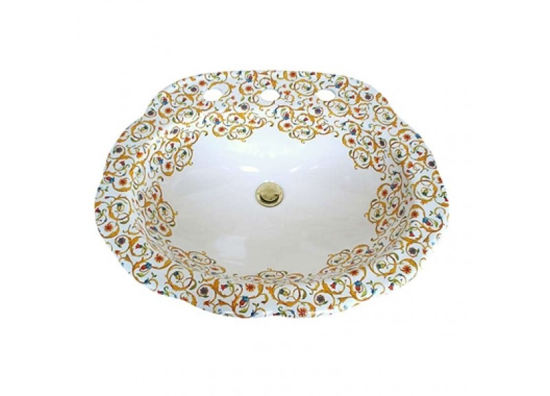 Red, gold and blue and metallic gold Florentine design painted on a pretty scalloped edge drop-in ceramic sink.