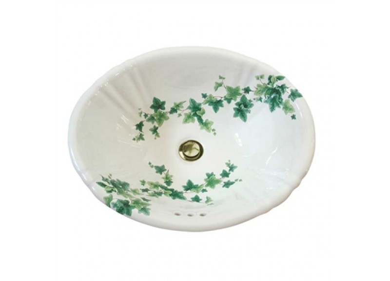 Ivy design hand painted decorative drop-in basin