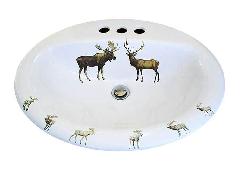 Moose and Deer Lodge design hand painted drop in sink.