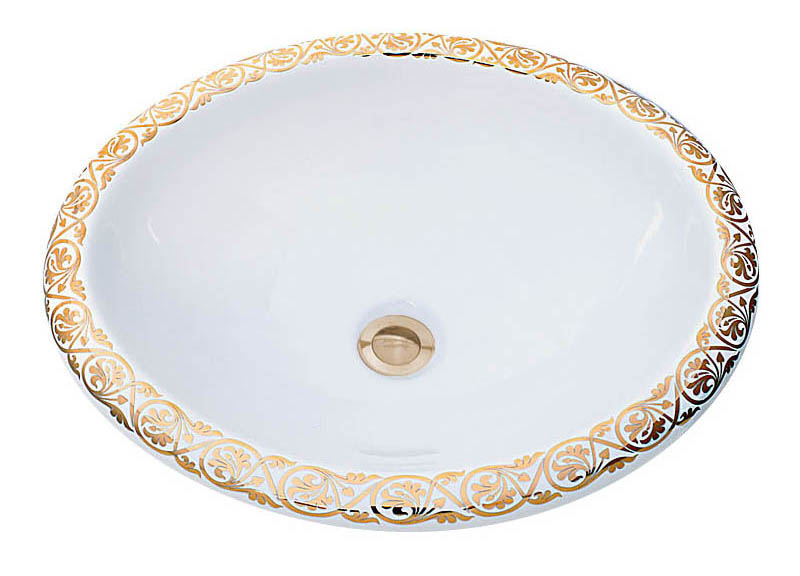 Big Fancy Gold Border elegant hand painted bathroom sink
