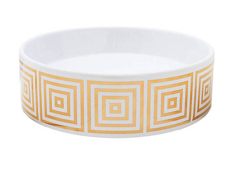 Big Squares design in gold painted on a small white vessel basin.