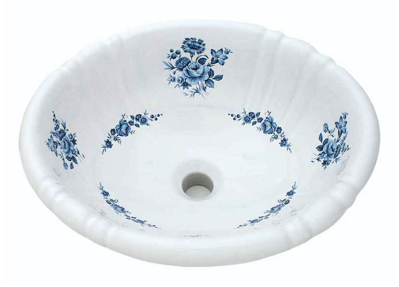 Blue and white rose and flowers decorated on a petite fluted drop-in sink.