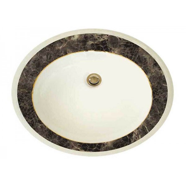 Faux Wide Marble Border Sink with Gold Trim
