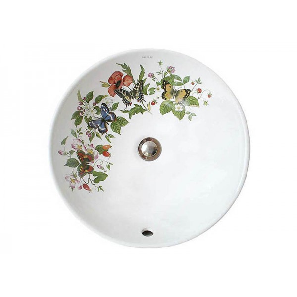 Butterflies and Flowers Painted Vessel Sink
