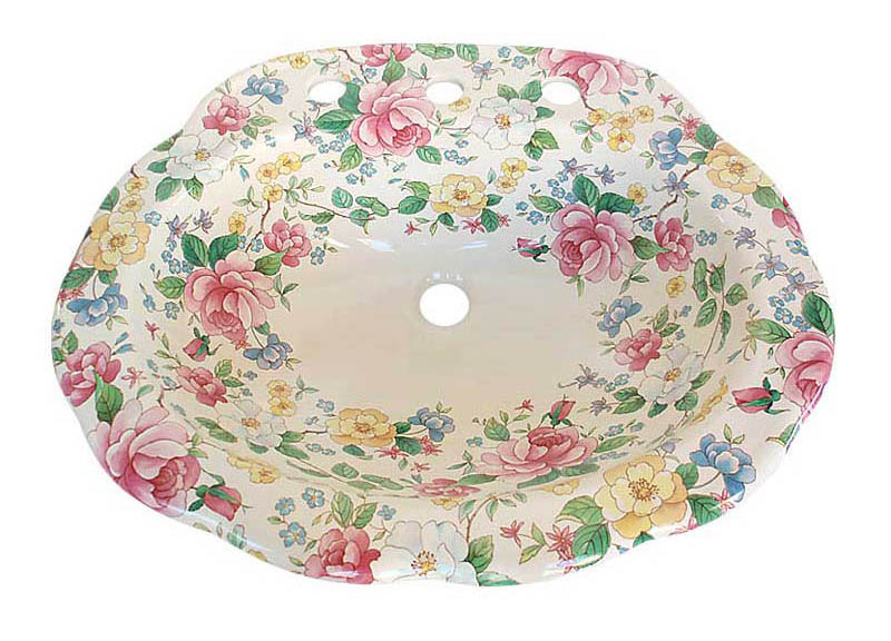 Chintz design with roses painted drop-in basin with scalloped edge