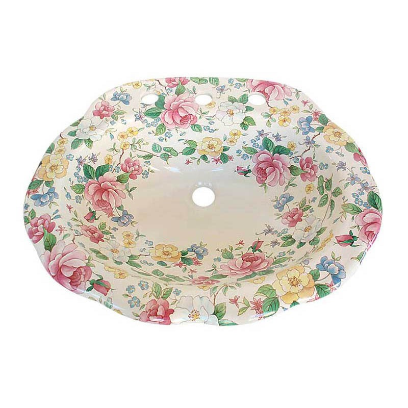 Chintz Scalloped Drop In Sink
