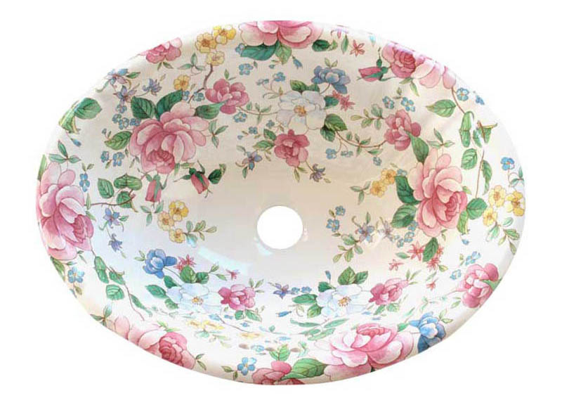 Chintz Garden Floral Hand Painted Fluted Sink.