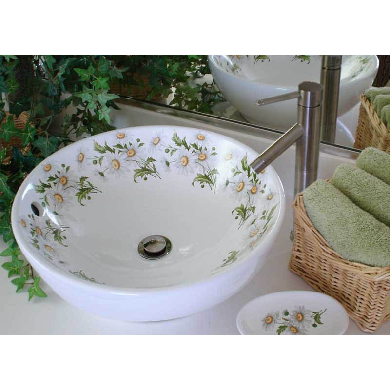 Floral Bathroom Sinks : Product Code: Daisy Painted Vessel Sink