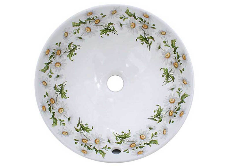 daisies hand painted on a white vessel basin