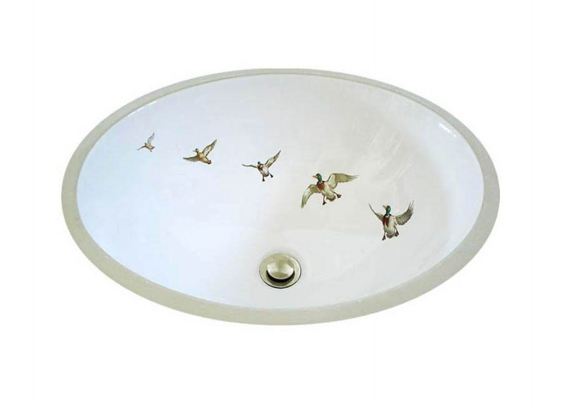 Ducks in Flight lodge design painted on a white center drain drop-in sink.