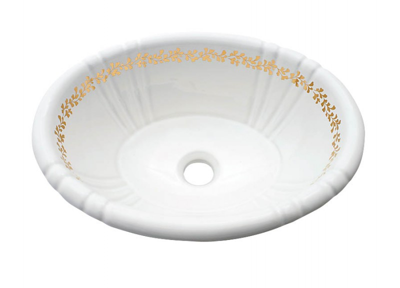 Fancy Gold Border design painted on a white fluted drop-in basin