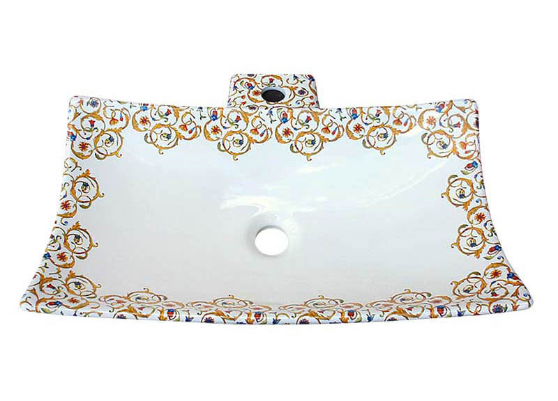 Florentine design painted on a contemporary biscuit vessel basin.