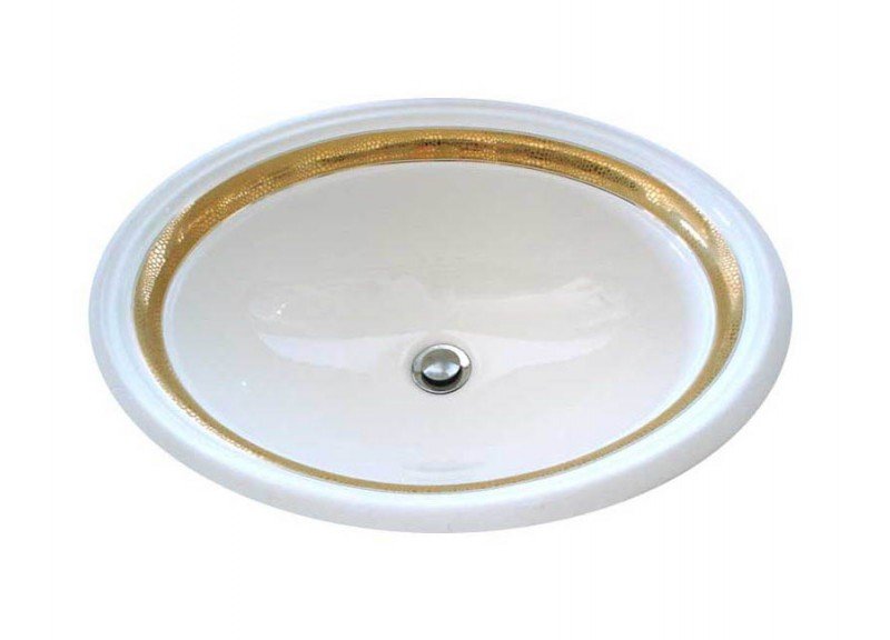 Matte & metallic gold border hand painted vanity basin