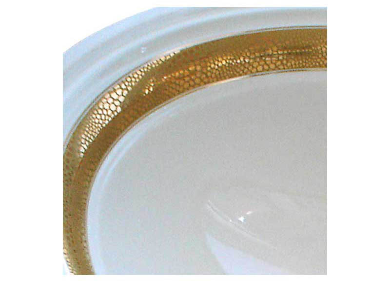 matte and metallic gold border painted sink detail