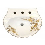 Gold Orchids Painted Bali Pedestal