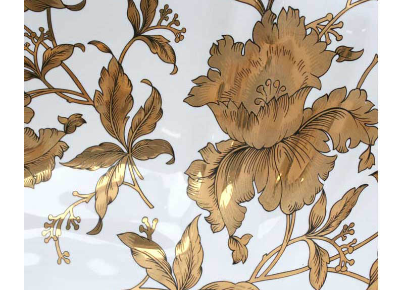 Gold Orchids hand painted pedestal lavatory detail.