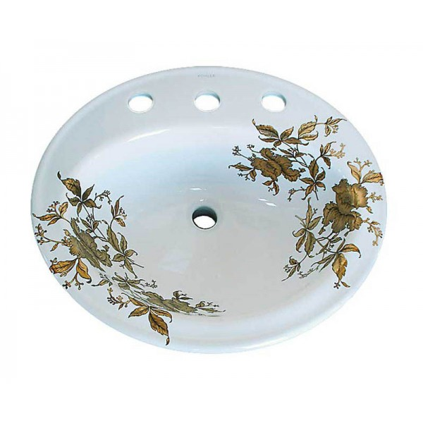 Gold Orchids Drop-in Sink
