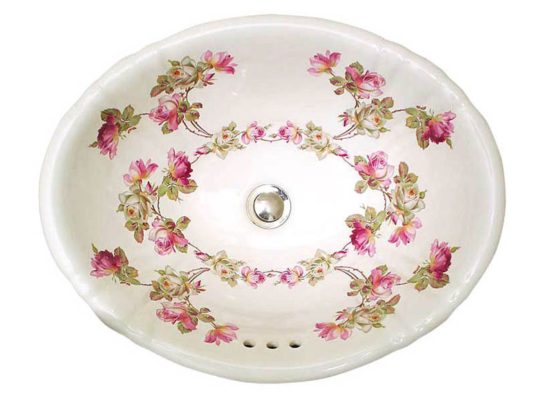 Pink and white Heirloom Roses design painted on a white fluted drop-in.