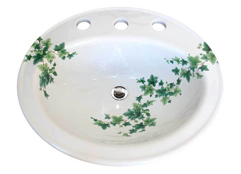 ivy design painted on a kohler pennington drop-in sink