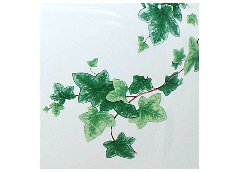 Hand painted Ivy design detail with green leaves and brown stems sink