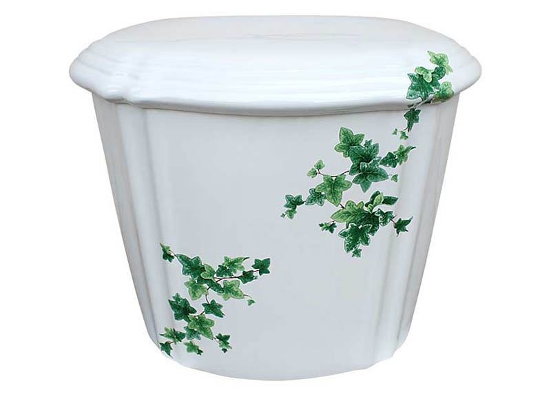 Ivy design painted on traditional toilet tank & lid.