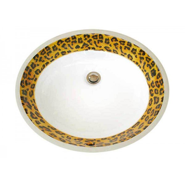 Leopard Border With Gold Trim Undermount