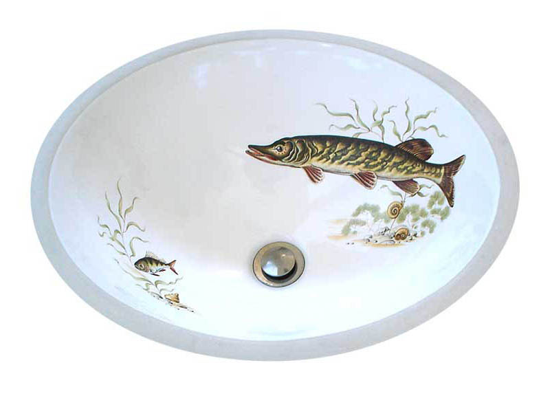 muskie hand painted fish sink