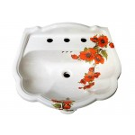 Oriental Poppies Pedestal Sink