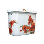 Oriental Poppies Painted Toilet Tank