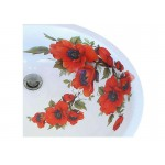 Oriental Poppies Undermount Painted Sink