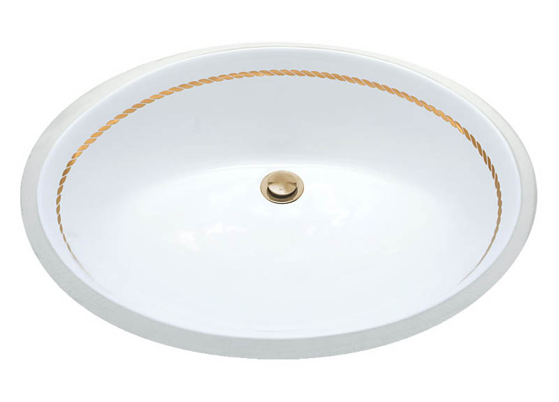 metallic gold rope border hand painted porcelain bath sink