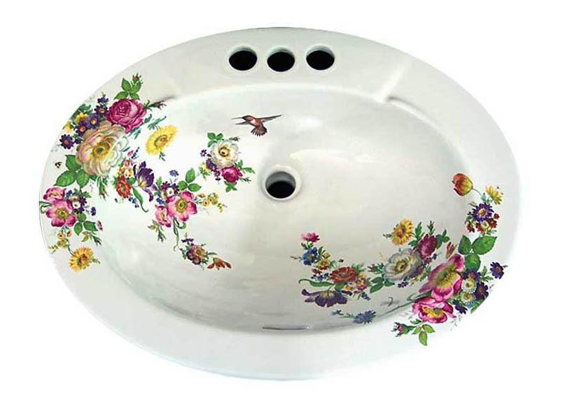 Painted Floral Basin Decorated Bathroom Blog