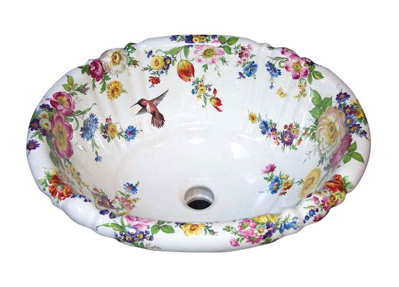 Scented Garden with Hummingbird Hand Painted Fluted Sink.