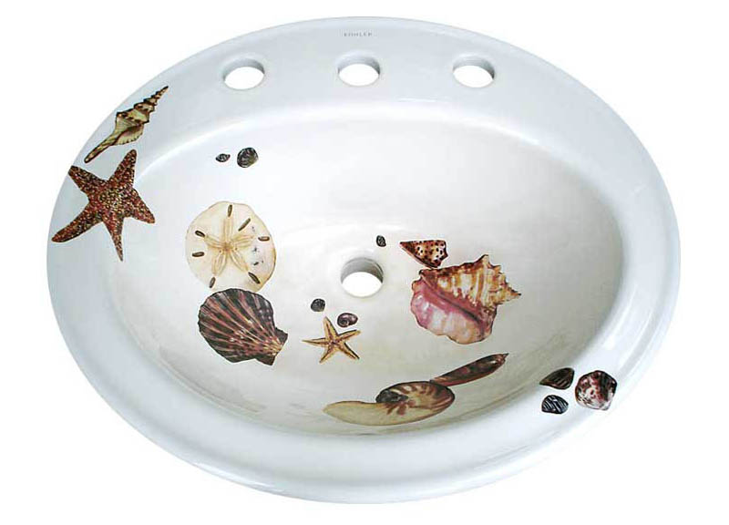 She Sells Sea Shells Painted On Sinks Decorated Bathroom Blog