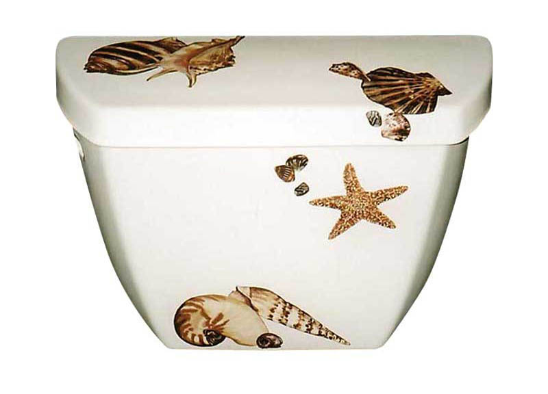 Seashells design painted on a Kohler toilet tank & lid.