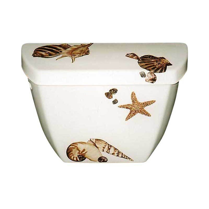 Seashell Pedestal Sink : Sea Shells Toilet Tank and Lid