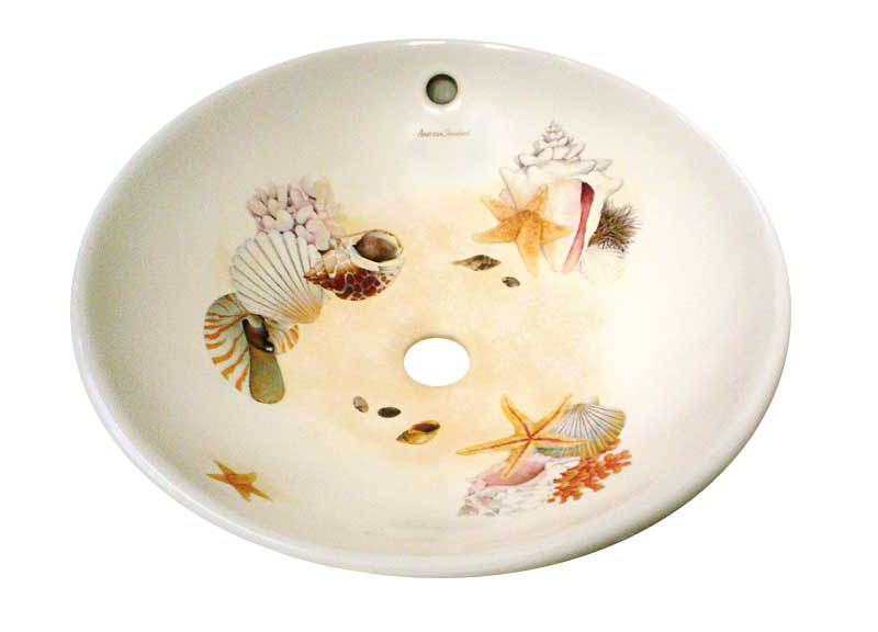 Colorful sea shells with hand painted sand vessel wash basin.