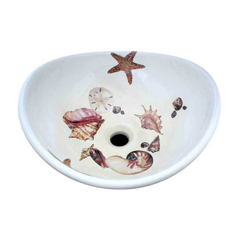Seashell Pedestal Sink : Sea Shells Vessel Sink