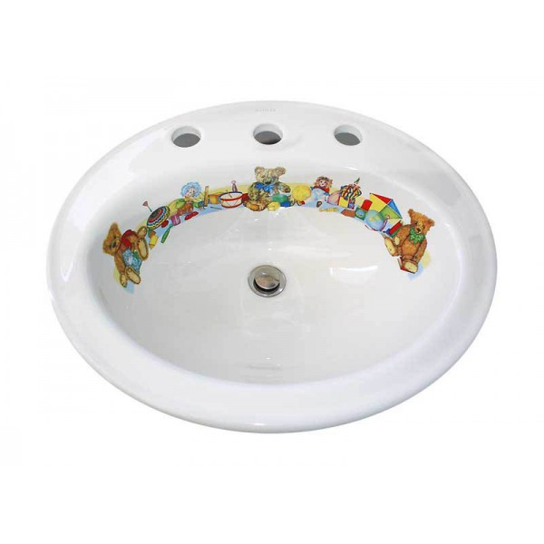 Teddy Bears Decorated Drop-in Basin