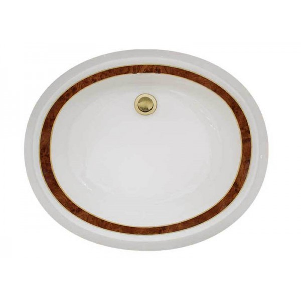 Thin Marble Border Sink with Gold Trim