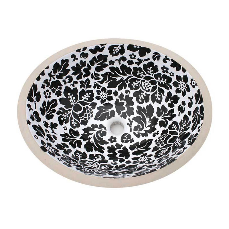 Wrapping paper flowers painted sink for Black and white bathroom paper