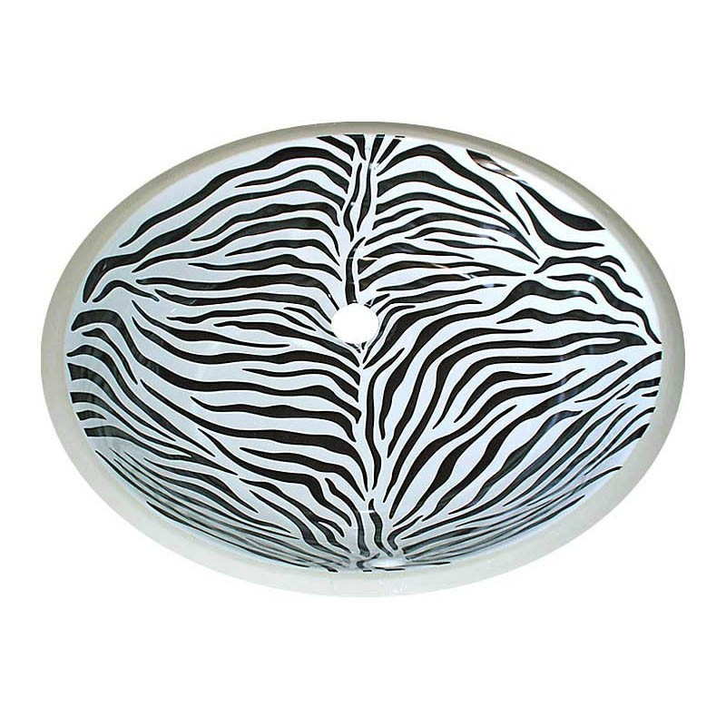 Vanity sink painted with zebra design