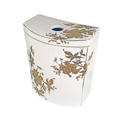 Gold Orchids Painted Persuade Toilet