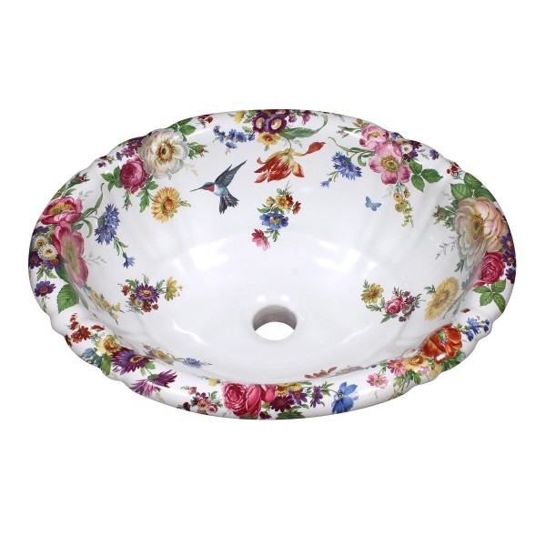 Scented Garden and Gray Hummingbird Painted Sink